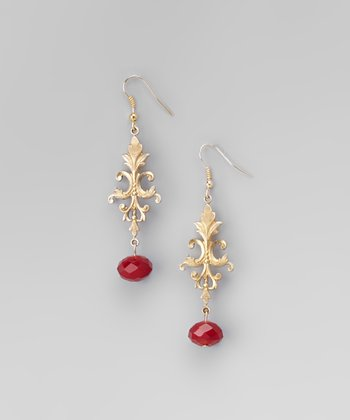 Red & Gold Filigree Drop Earrings