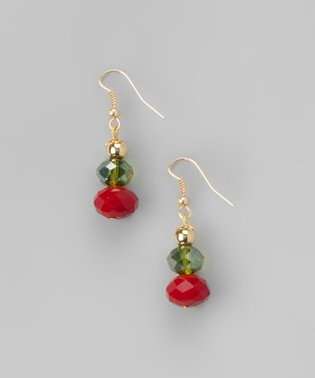 Red & Gold Faceted Bead Drop Earrings