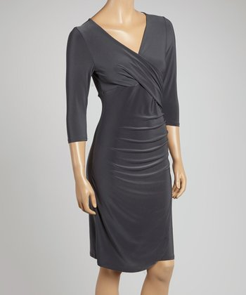 Gray Draped Surplice Dress