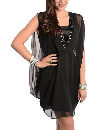 Black Embellished Sheer Drape Dress