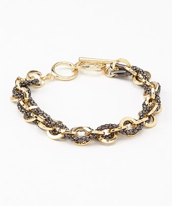 Gold & Black Chain Link Bracelet