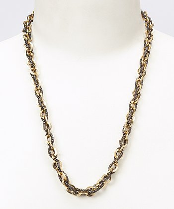 Gold & Black Chain Link Necklace