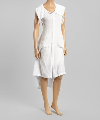 White Drape Button-Up Dress