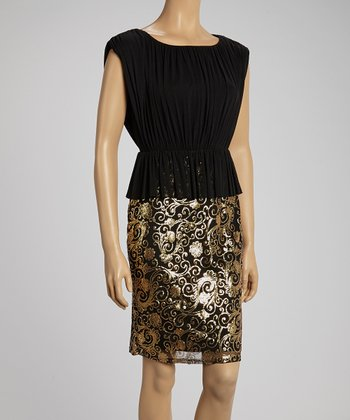 Black Sequin Swirl Peplum Dress