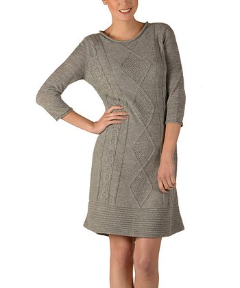 Gray Alpaca Cable-Knit Dress