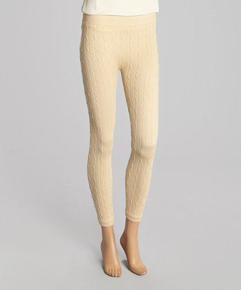 Light Camel Cable-Knit Leggings