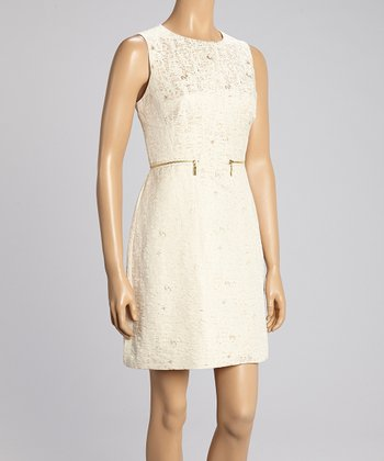 Ivory & Gold Brocade Zipper Dress