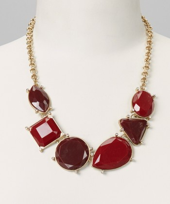 Red & Gold Bib Necklace