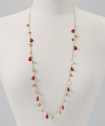 Red & Gold Hammered Charm Necklace