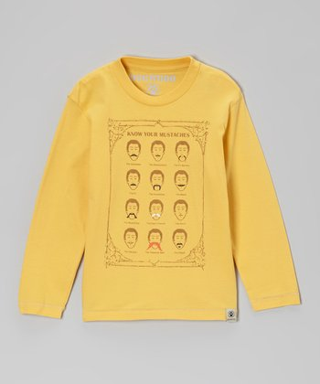 Gold 'Mustache' Long-Sleeve Tee - Infant, Toddler & Boys
