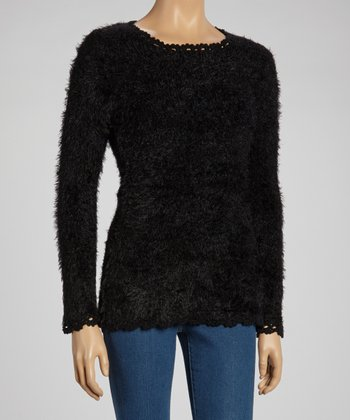 Black Fuzzy Scoop Neck Sweater