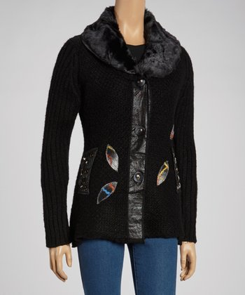 Black Leopard Studded Faux Fur-Trim Wool-Blend Cardigan