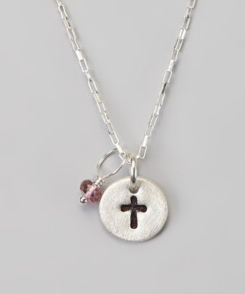 Silver Petite Cross & Pink Stone Necklace
