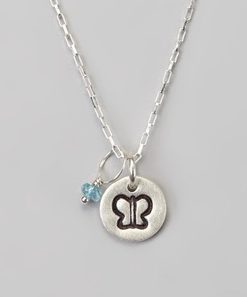 Silver Petite Butterfly & Blue Stone Necklace