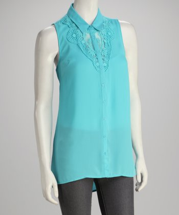 Aqua Sleeveless Button-Up