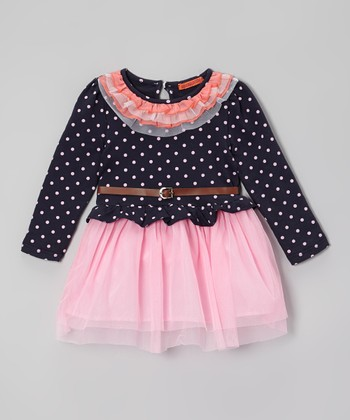 Pink & Navy Polka Dot Belted Dress - Girls
