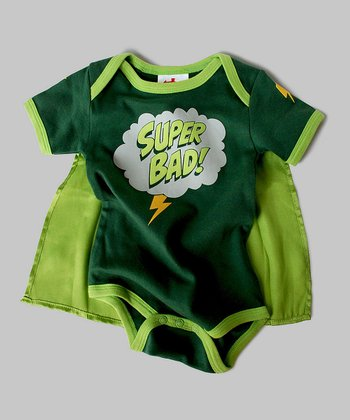 Green 'Superbad' Cape Bodysuit - Infant