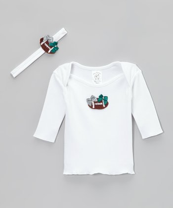 Silver & Green Football Tee & Ribbon - Infant
