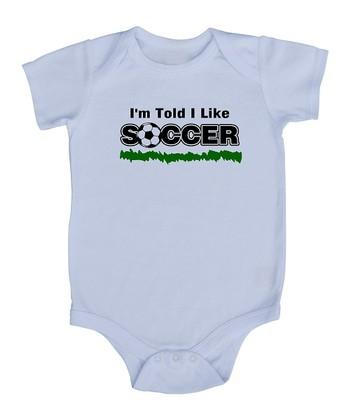 White 'I'm Told I Like Soccer' Bodysuit - Infant