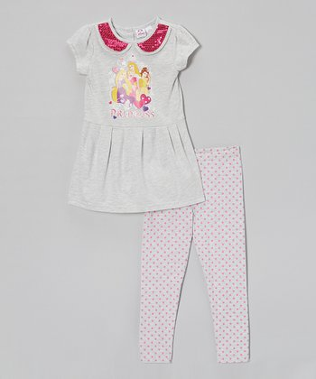 Heather Gray Princess Peplum Tunic & Leggings - Toddler