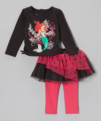 Black Ariel Tee & Skirted Leggings - Infant & Toddler