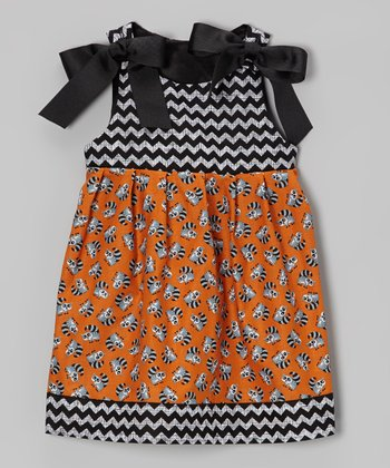 Orange & Black Raccoon Dress - Infant & Toddler