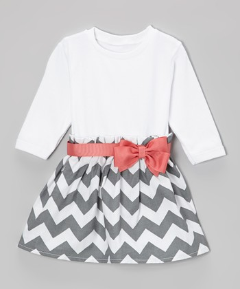 Gray & Coral Bow Zigzag Dress - Infant & Toddler