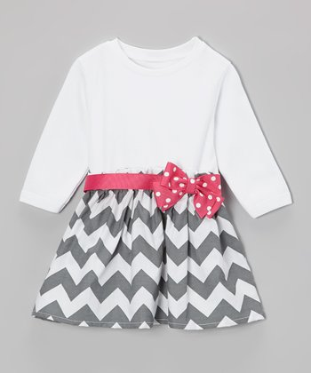 Gray & Pink Polka Dot Bow Zigzag Dress - Infant & Toddler