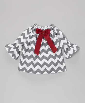Gray & White Zigzag Long-Sleeve Dress - Infant & Toddler