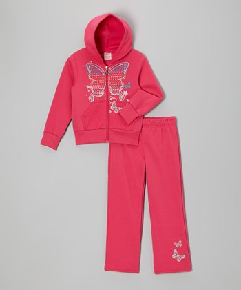 Pink Butterfly Zip-Up Hoodie & Pants - Girls