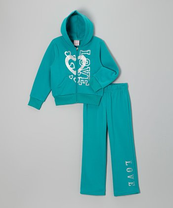 Green 'Love' Zip-Up Hoodie & Pants - Girls