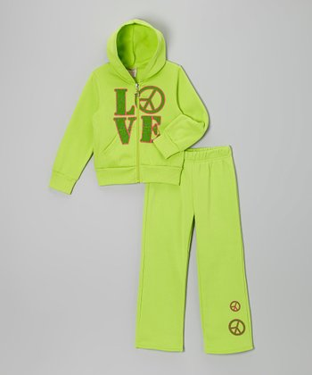 Light Green 'Love' Zip-Up Hoodie & Pants - Girls