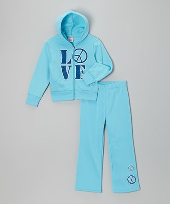 Light Blue 'Love' Zip-Up Hoodie & Pants - Girls