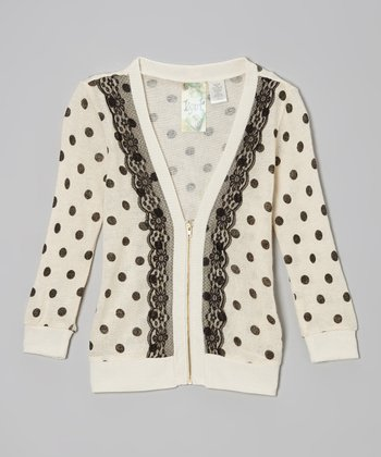 Ivory Polka Dot Lace Zip-Up Cardigan - Girls