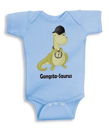 Light Blue 'Gangsta-Saurus' Bodysuit - Infant