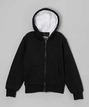 Black Solid Zip-Up Hoodie - Boys