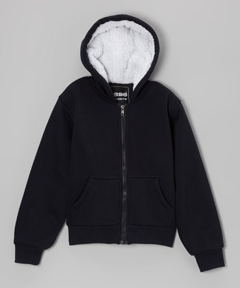Navy Solid Zip-Up Hoodie - Boys