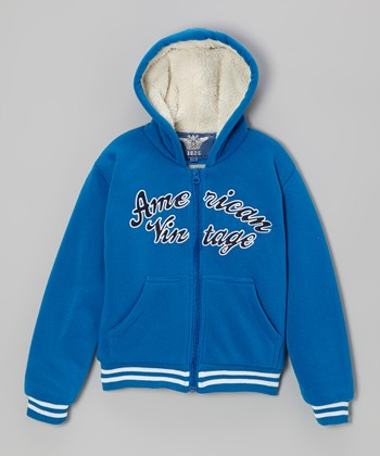 Royal Blue 'American Vintage' Zip-Up Hoodie - Kids