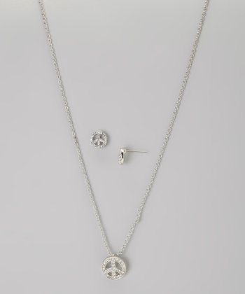Silver Peace Sign Necklace & Earrings