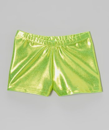 Clingons Activewear Neon Lime Foil Shorts - Toddler & Girls