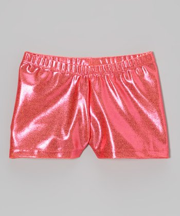 Clingons Activewear Neon Orange Foil Shorts - Toddler & Girls