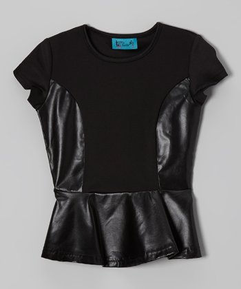 Black Half Pleather Peplum Top - Toddler & Girls