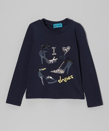 Navy Shoes Bow Long-Sleeve Tee - Toddler & Girls