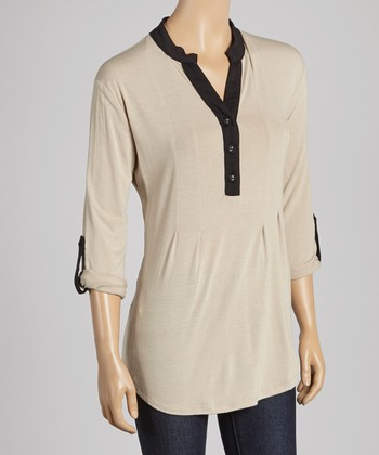Taupe & Black Button-Up Three-Quarter Sleeve Top
