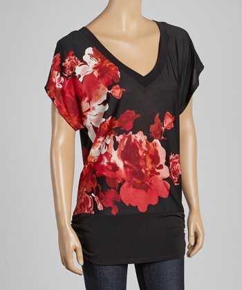 Black & Red Floral V-Neck Top