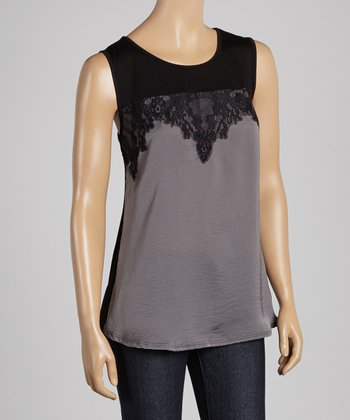 Silver & Black Lace Sleeveless Top