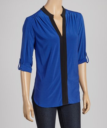Cobalt & Black Placket V-Neck Top