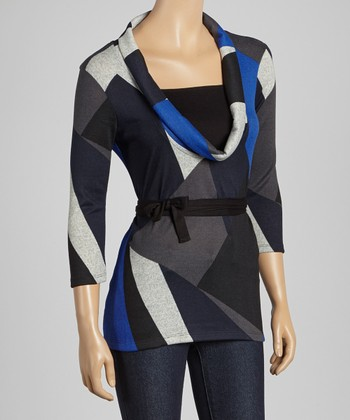 Royal Blue & Black Geometric Cowl Neck Top