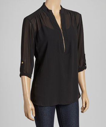 Black Zipper Three-Quarter Sleeve Top