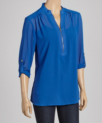 Royal Blue Zipper Three-Quarter Sleeve Top